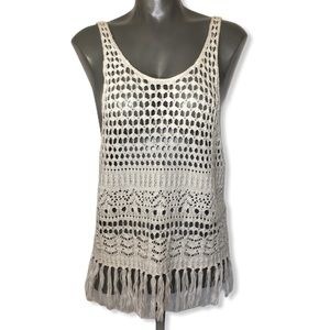 Abercrombie Crochet Boho Hippie Tank Top Size L